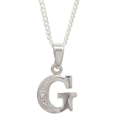 Diamond Set Initial G - White Gold