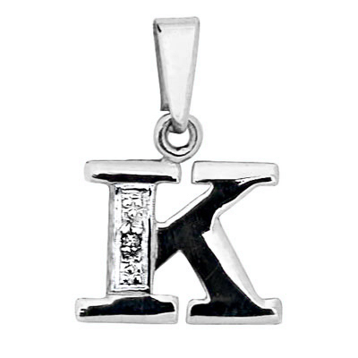 Diamond Set Initial K - White Gold