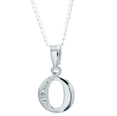 Diamond Set Initial O - White Gold