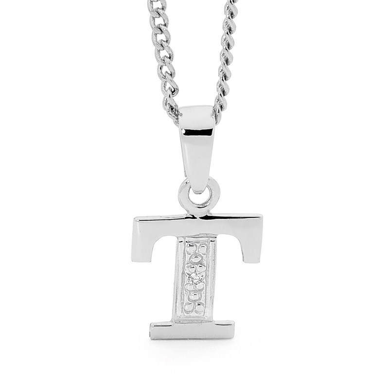 Diamond Set Initial T - White Gold