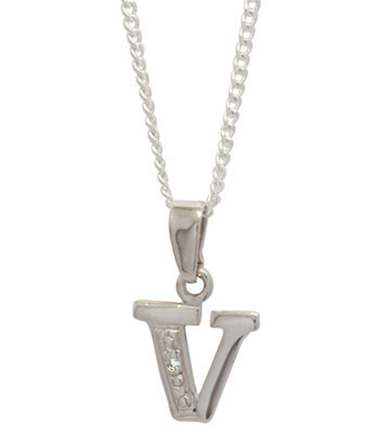 Diamond Set Initial V - White Gold