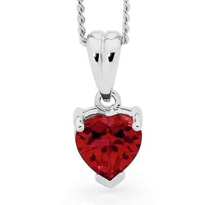 "Heart Ruby Pendant ""White Gold"""