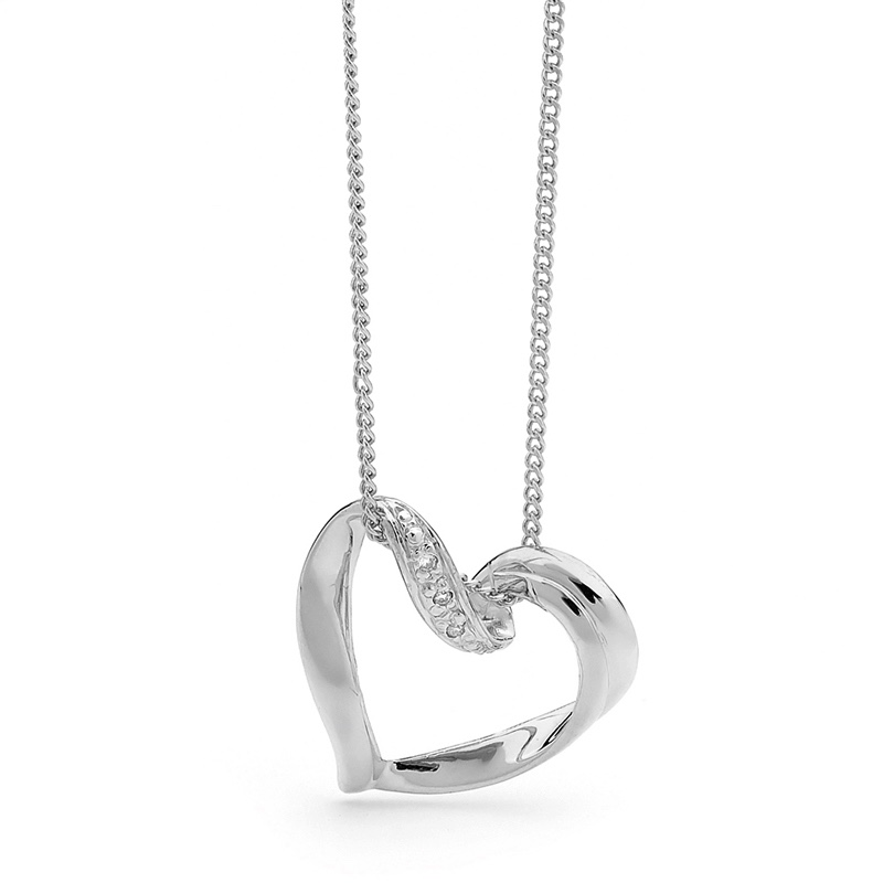 Romantic White Gold Diamond Heart Pendant