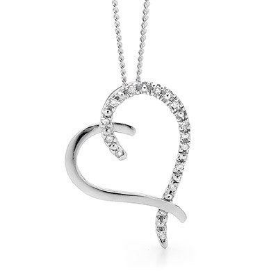 "Diamond Heart Pendant ""White Gold"""