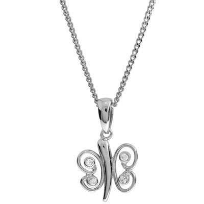 White gold butterfly pendant with Cubic Zirconia