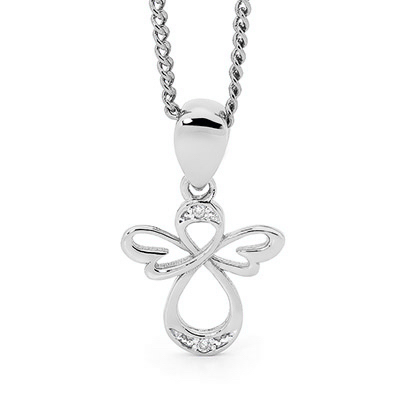 White Gold Angel Pendant with Diamonds