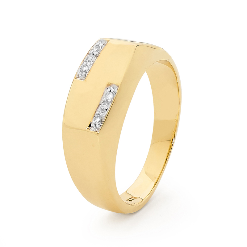 Modern Gold Mens Ring with Diamond