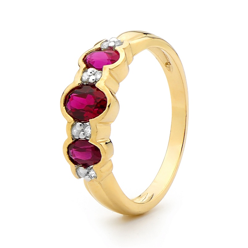 Created Ruby Eternity Ring with Diamonds