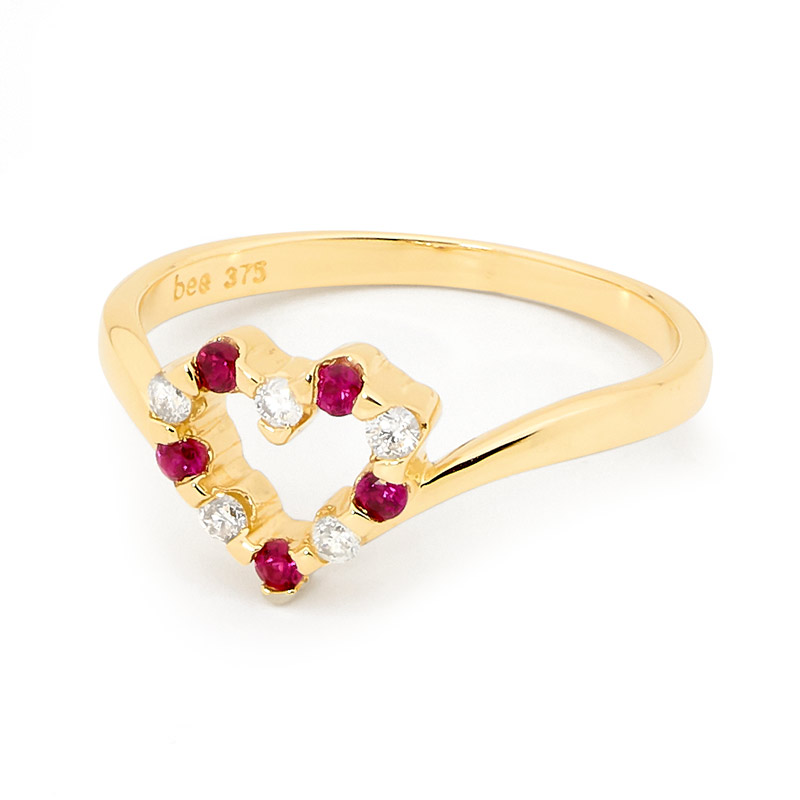 Created Ruby and Diamond Love Ring