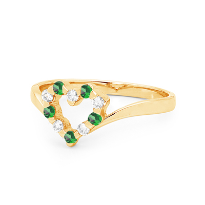 Created Emerald and Diamond Love Ring