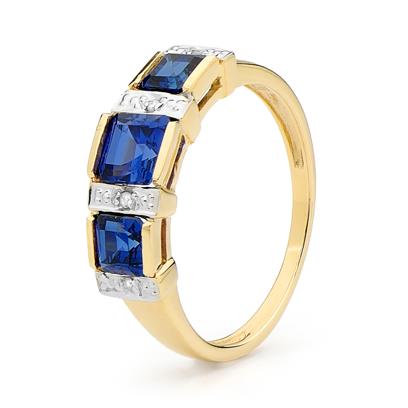 Created Sapphire Ring with Diamonds