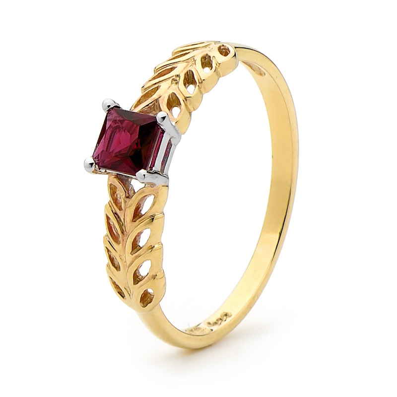 Created Ruby Ring with Wheat Grain Pattern