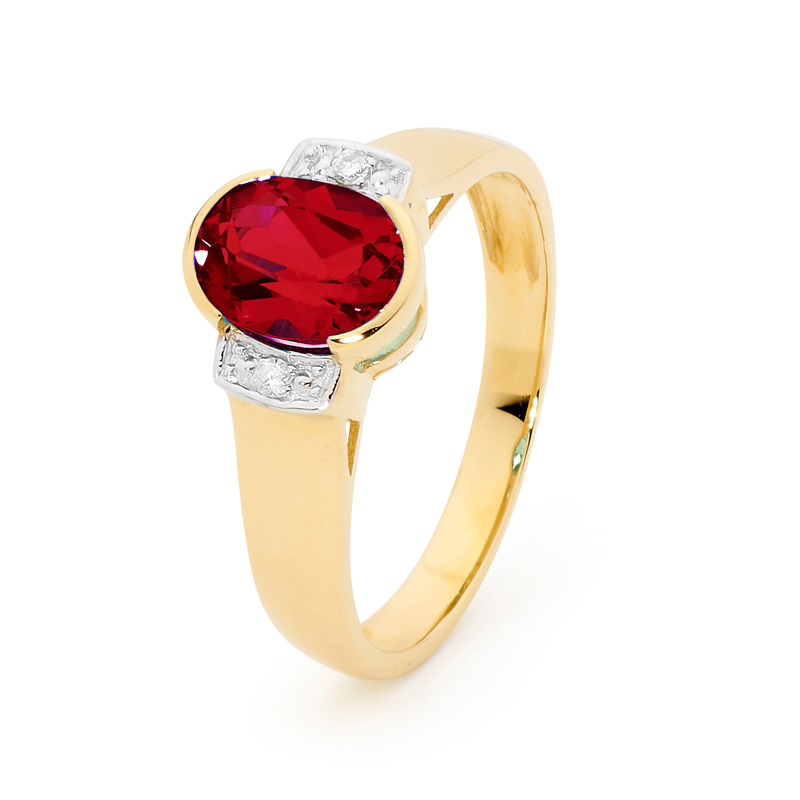 Oval Ruby Dress Ring with Diamonds