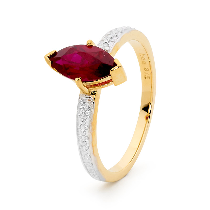 Created Ruby and Diamond Dress Ring