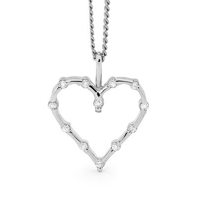 Romantic Silver Heart with Cubic Zirconia