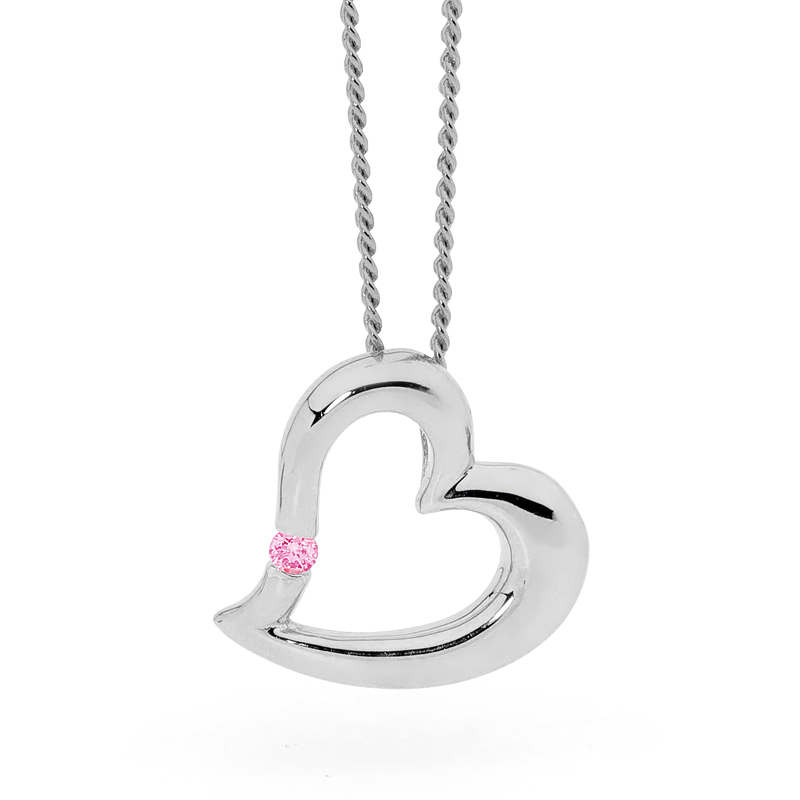 Sexy Silver Heart Pendant with Pink CZ