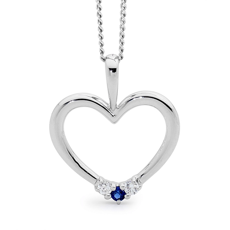 Romantic Silver Heart with Sapphire