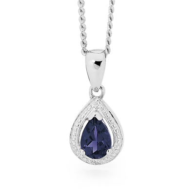 Silver pendant with Teardrop Sapphire.