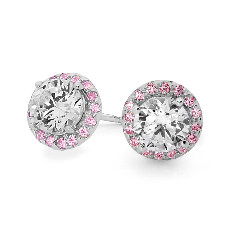 Pink Halo Zirconia Earrings