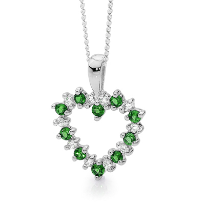20 Stone Heart Pendant with Emerald
