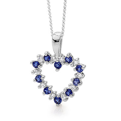 20 Stone Heart Pendant with Sapphire