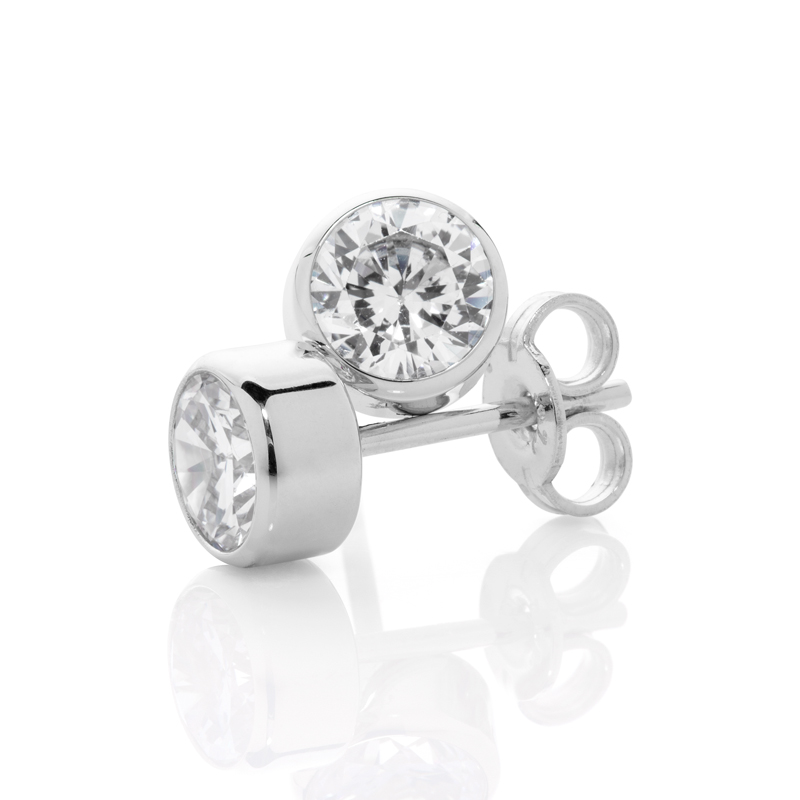 Sterling Silver Ear Studs with 6.0 mm CZ