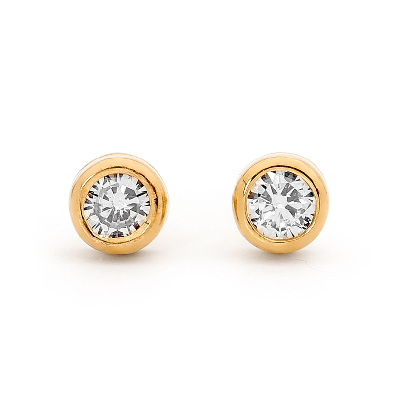Diamond Solitaire Stud Earrings - TDW 0.14 ct