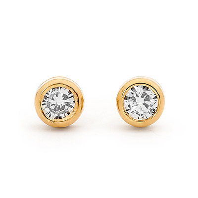 Diamond Solitaire Stud Earrings - TDW 0.30 ct