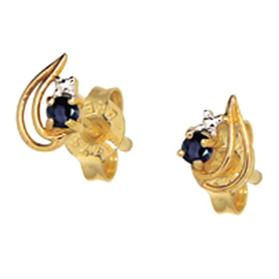 9 ct. gold Sapphire leaf earrings