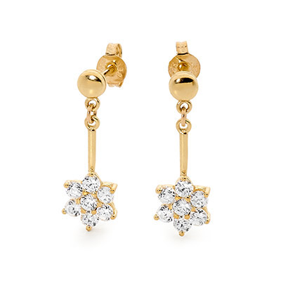 Zirconia Flower Drop Earrings