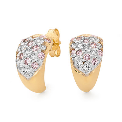 Pink and White Zirconia Stud Earrings