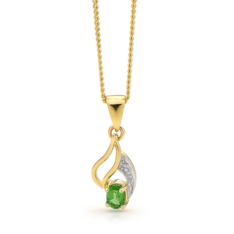 Created Emerald and Diamond Pendant