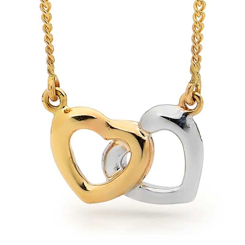 Two Hearts Necklace - Gold