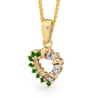 Emerald and Diamond Heart Pendant