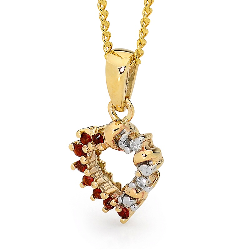 Garnet and Diamond Heart Pendant