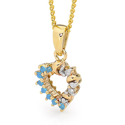 Spinel and Diamond Heart Pendant