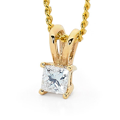 Princess Cut Diamond Pendant 0.07 Carat