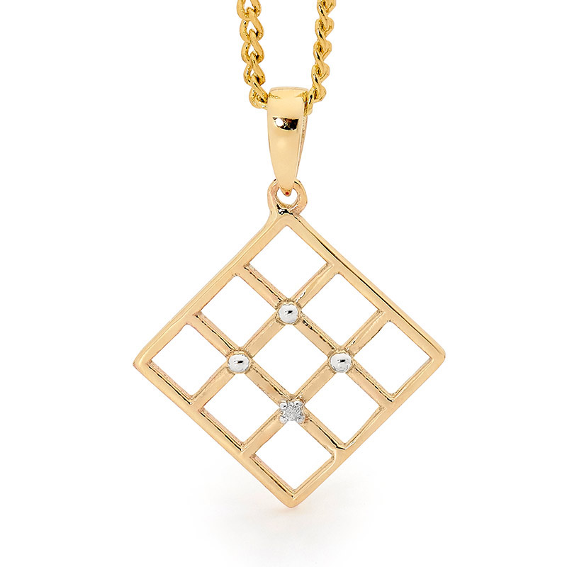 Square Basket Weave Pendant with Diamond