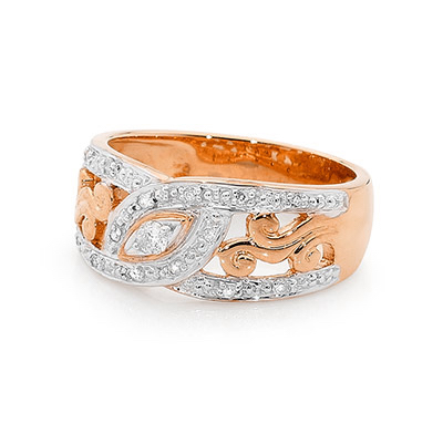 Rose Gold Dress Ring with Diamonds