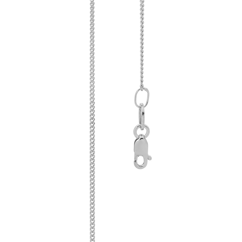"White Gold Chain ""Fine Curb Link"" - 45 cm"