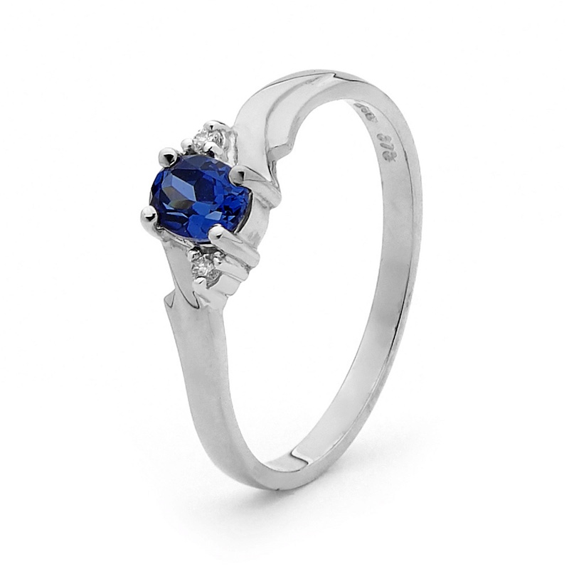 White Gold Created Ceylon Sapphire Ring with Diamonds