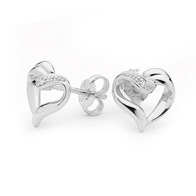 Diamond Heart Earrings in White Gold